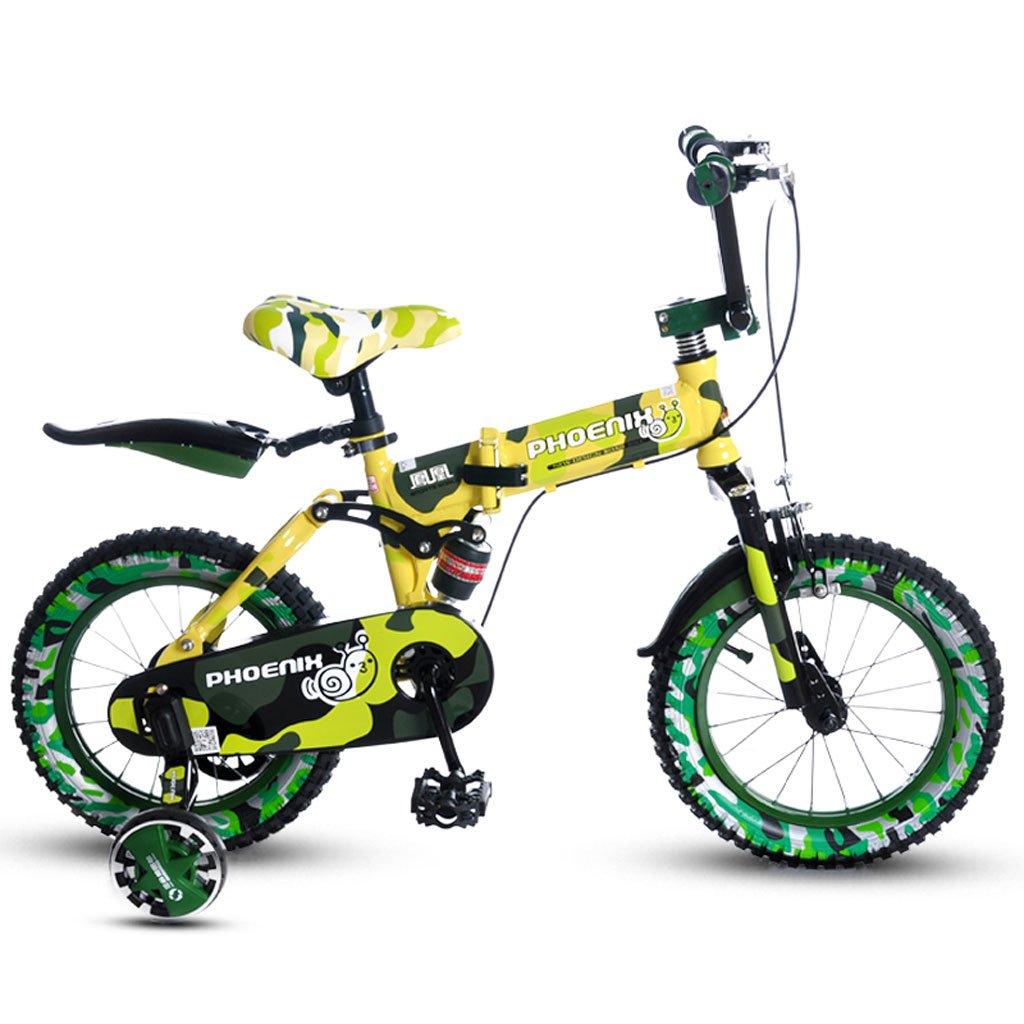子供の折りたたみ自転車14/16インチの男の子の自転車3-4-5歳の女の子赤ちゃん子供マウンテンバイクイエロー ( Size : 16 inches ) B07DVGHQ1T