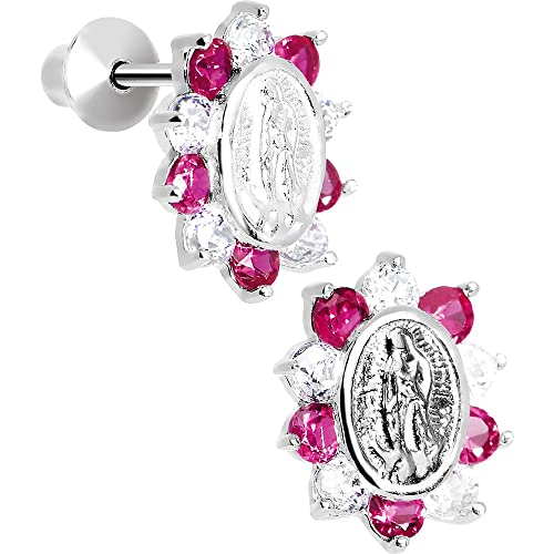 5c4971622c8c3 925 Sterling Silver Our Lady of Guadalupe Pink CZ Youth Screwback Earrings