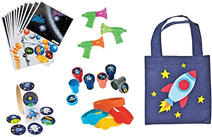 Spaceship 24 Stampers 12 Space Bracelets 100 Space Stickers 172 PC Space Solar System Birthday Party Favor 12 Mini Space Horns 12 Tote Bags 12 Paper Solar System Sticker Scenes