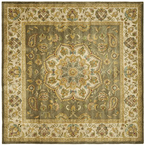 Safavieh Heritage Collection HG954A Handcrafted Traditional Oriental Green and Taupe Wool Square Area Rug (8' Square)