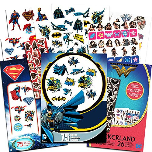 DC Comics Super Hero Party Supplies Set -- Over 175 Superhero Temporary Tattoos and 400 Stickers Featuring Justice League Batman, Wonder Woman, Superman (Superhero Party Favors