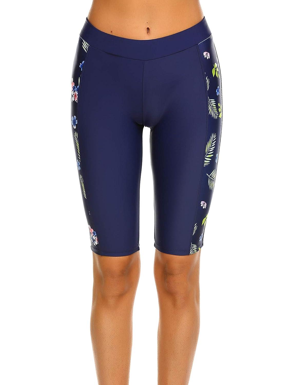 Ekouaer Womens Swim Capris UV Board Shorts Rash Guard Swimsuit Pants Swimwear S-XXL