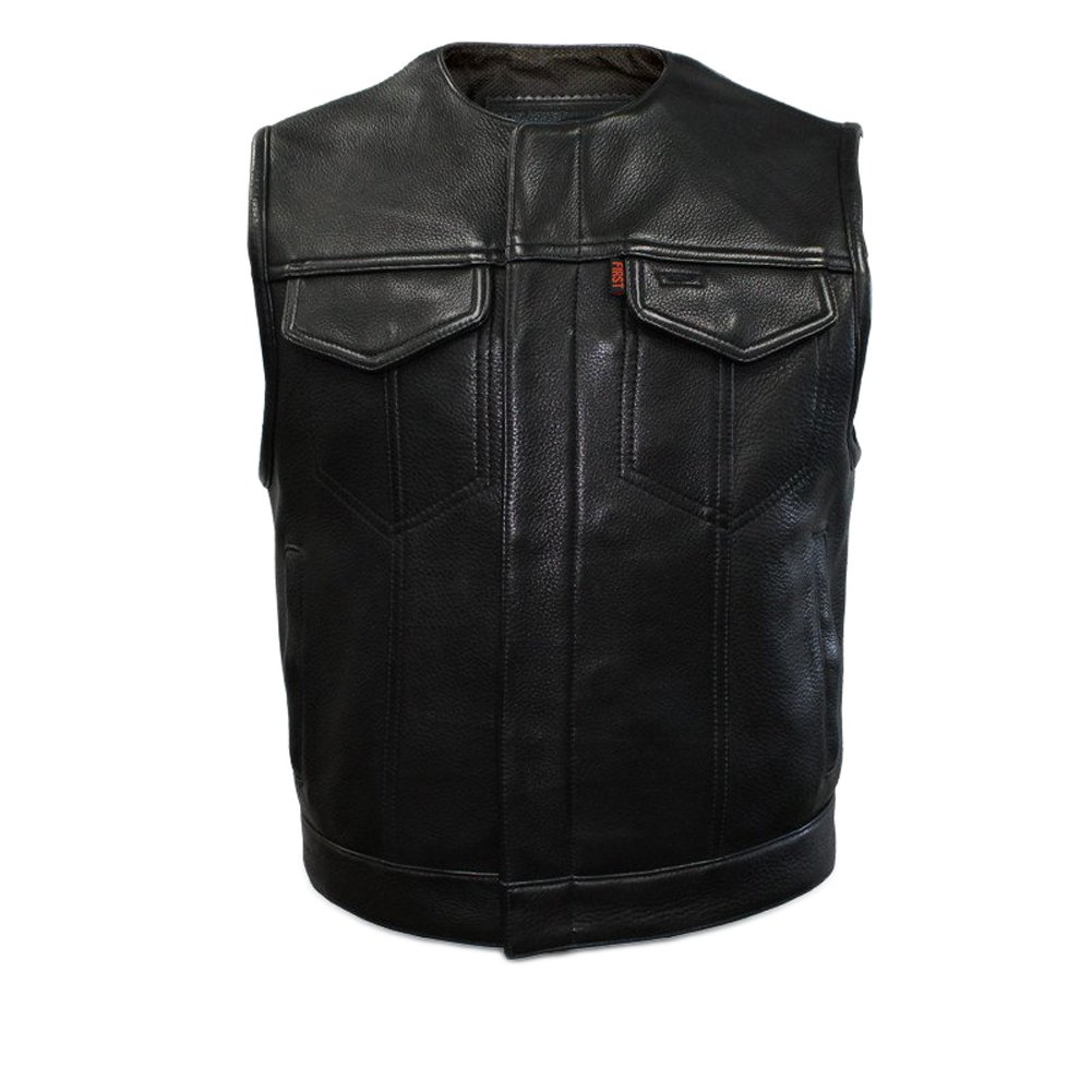 First Manufacturing Men's Lowside Motorcycle Vest, Black, 3XL