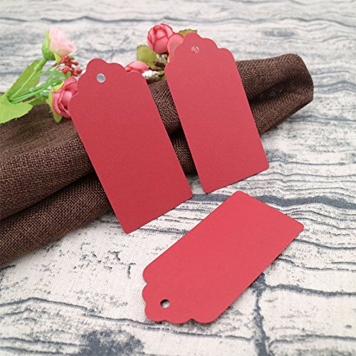 Valentines Day Gift Tags,100 PCS Kraft Paper Tags,Black Rectangle Kraft Hang Tags,Price Tags with 100 Feet Jute Twine