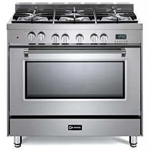 Verona Prestige Series VPFSGE365SS 36 inch. Dual Fuel Range Convection Oven 5 Sealed Burners Stainless Steel Storage Drawer
