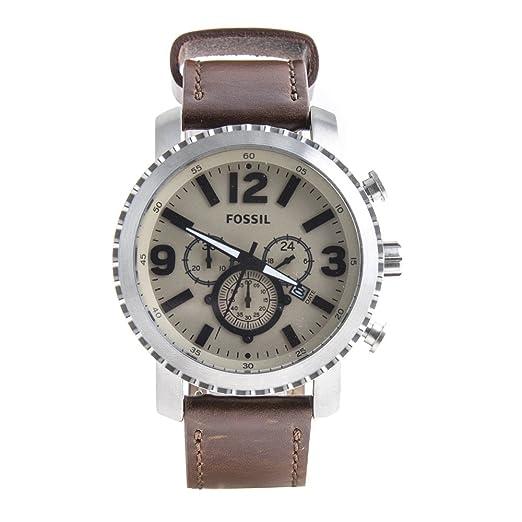 Reloj de pulsera hombre bq2101 Fossil marrón piel Cronógrafo Idea regalo: Amazon.es: Relojes