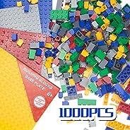 ANPETBEST 1000Pcs Building Bricks Set, Basic Building Blocks with 4Pcs 6.29×6.29inch Base Plates Bulk Assorted