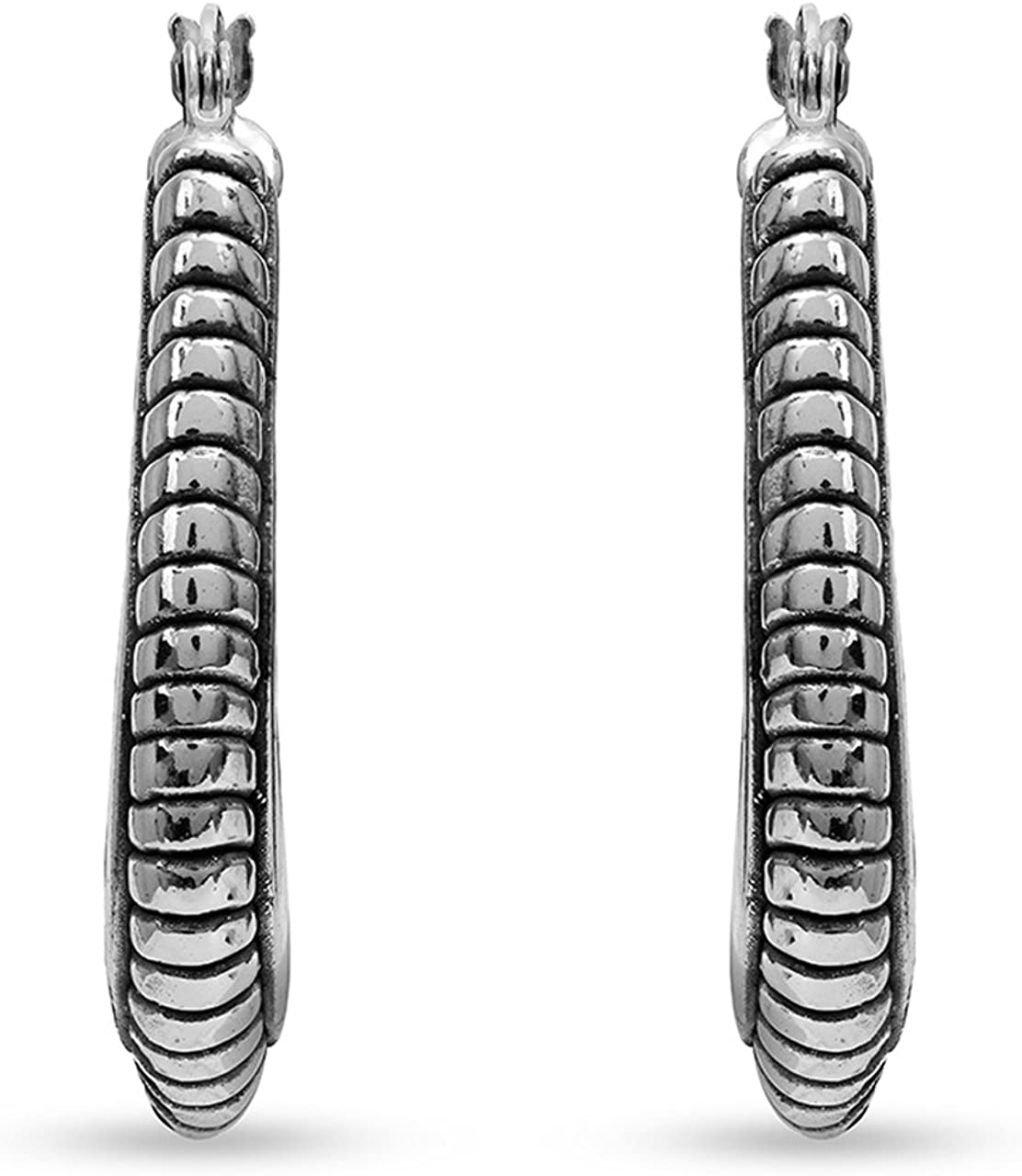 Made in Italy Sterling Silver Plain Oval Shape Design Puffy Hoop Earrings