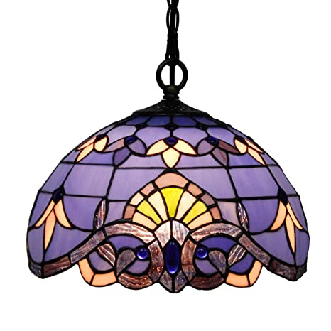 Tiffany Hanging Lamp Blue Purple Baroque 12 Inch Stained Glass Shade ...
