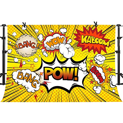 PHMOJEN Yellow Superhero Theme Backdrop for Baby Shower Children Birthday Party Pow Bang Wow Photography Background Vinyl 10x7ft Cake Table Banner LYPH833 -