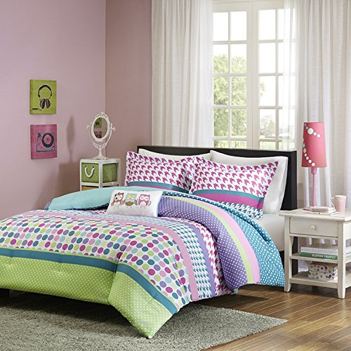 3 Piece Girls Rainbow Polka Dot Theme Comforter Twin XL Set, All Over Polkadot Houndstooth Plaid Bedding, Multi Circle Small Dots Themed, Horizontal Stripe Pattern, Pink Purple Blue Teal Green Aqua