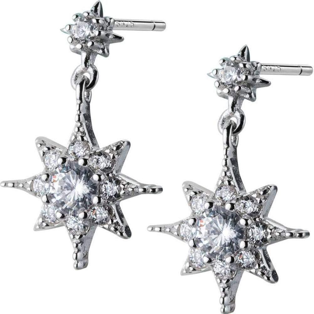 WOZUIMEI S925 Pendientes de Estrella de Diamantes de Plata Corea de la Mujer Pequeños Pendientes de Joyería de Hexagrama de Luz Fresca Joyería de Oreja de Estiloplata, Plata 925