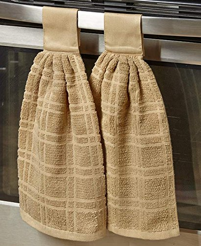 The Lakeside Collection Set of 2 Hanging Kitchen Towels- Cactus