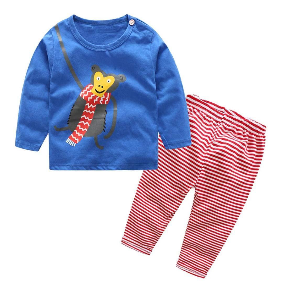 Completo Bimbo Bambina 18 Mesi Abbigliamento Bambina 24 Mesi I Bambini Del Bambino Dei Pezzi Lunghi Maniche Lunghe Stampa Cartoon + Pantaloni Stripe Abiti Set Morwind