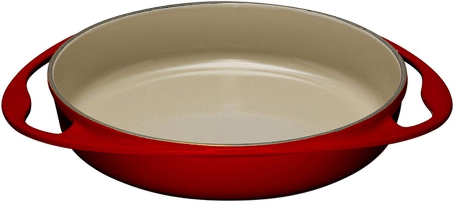 Le Creuset - Plato para hornear Tartin de hierro fundido, redondo, Ø 28 cm, apto para todo tipo de estufas, incluida la inducción, rojo cereza