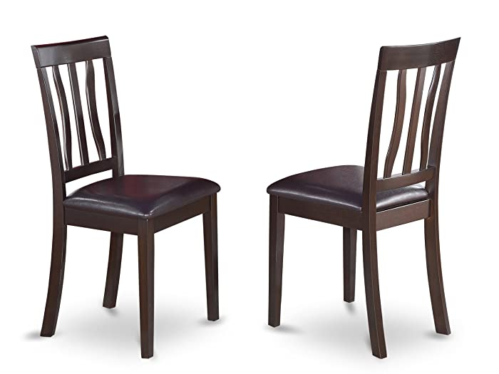East West Furniture Dining Chair Set with Faux Leather Seat, Cappuccino Finish, Set of 2