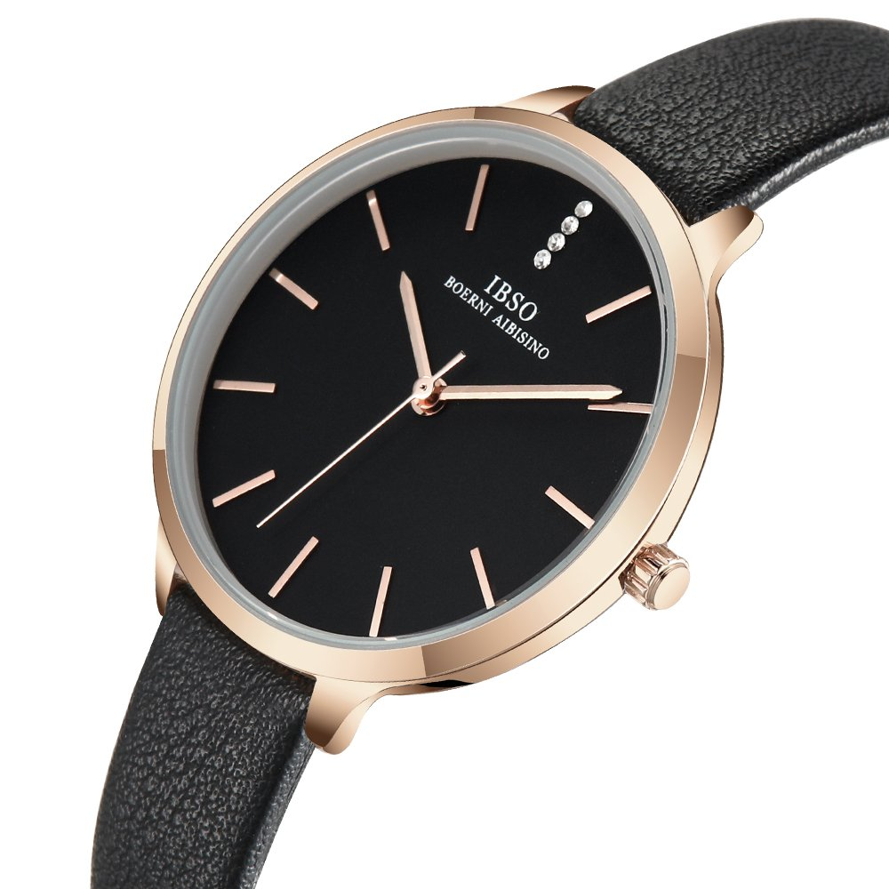 Women Three-Hand Leather Strap Round Watch Fashion Simple Ultra-Thin Quartz Analog Wristwatch (6603 Black)