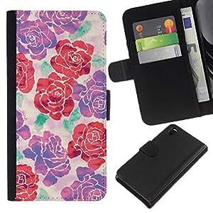 KLONGSHOP // Tirón de la caja Cartera de cuero con ranuras para tarjetas - begonia rosa de seda de flores de primavera diseño de arte - Sony Xperia Z3 D6603 //