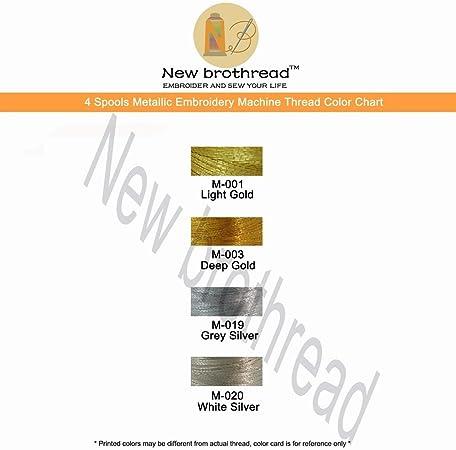 New brothread 4 Colores (2 Oro+2 Plata) metálico Bordado Máquina ...