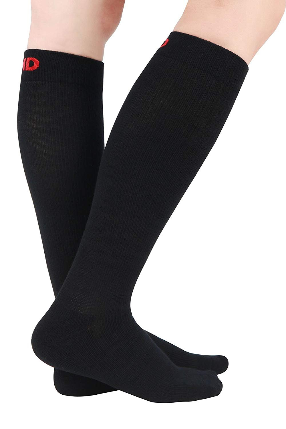 MD 3 Pairs Thick Unisex Moisture Wicking Bamboo Travel Compression Socks 8-15mmHg 13-15 Black
