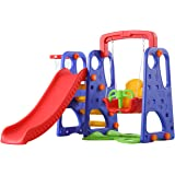 XIANGYU Kids 3 in 1 Outdoor Play Structure Jumbo Slide with Swing And Basket Ball Game