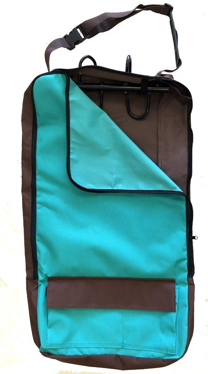 Deluxe Bridle Halter Tote Bag Carrier Tack Racks 600D Multi Pockets Turquoise by AJ Tack Wholesale