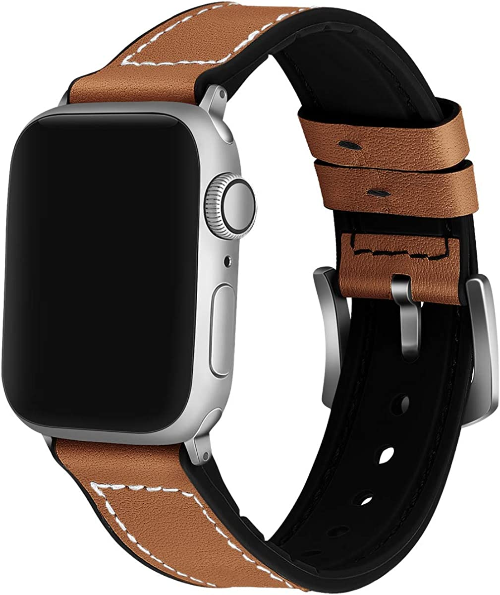 iGK Compatible with Apple Watch Band 38mm 40mm 42mm 44mm, Sweatproof Brown Leather and Soft Silicone Replacement Straps for Women Men iWatch Series 5/4/3/2/1