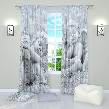 Black and White curtains by Factory4me Angels figures. Window Curtain Set  of 2 Panels Each W42 x L84 Total W84 x L84 inches Drapes for Living Room ...