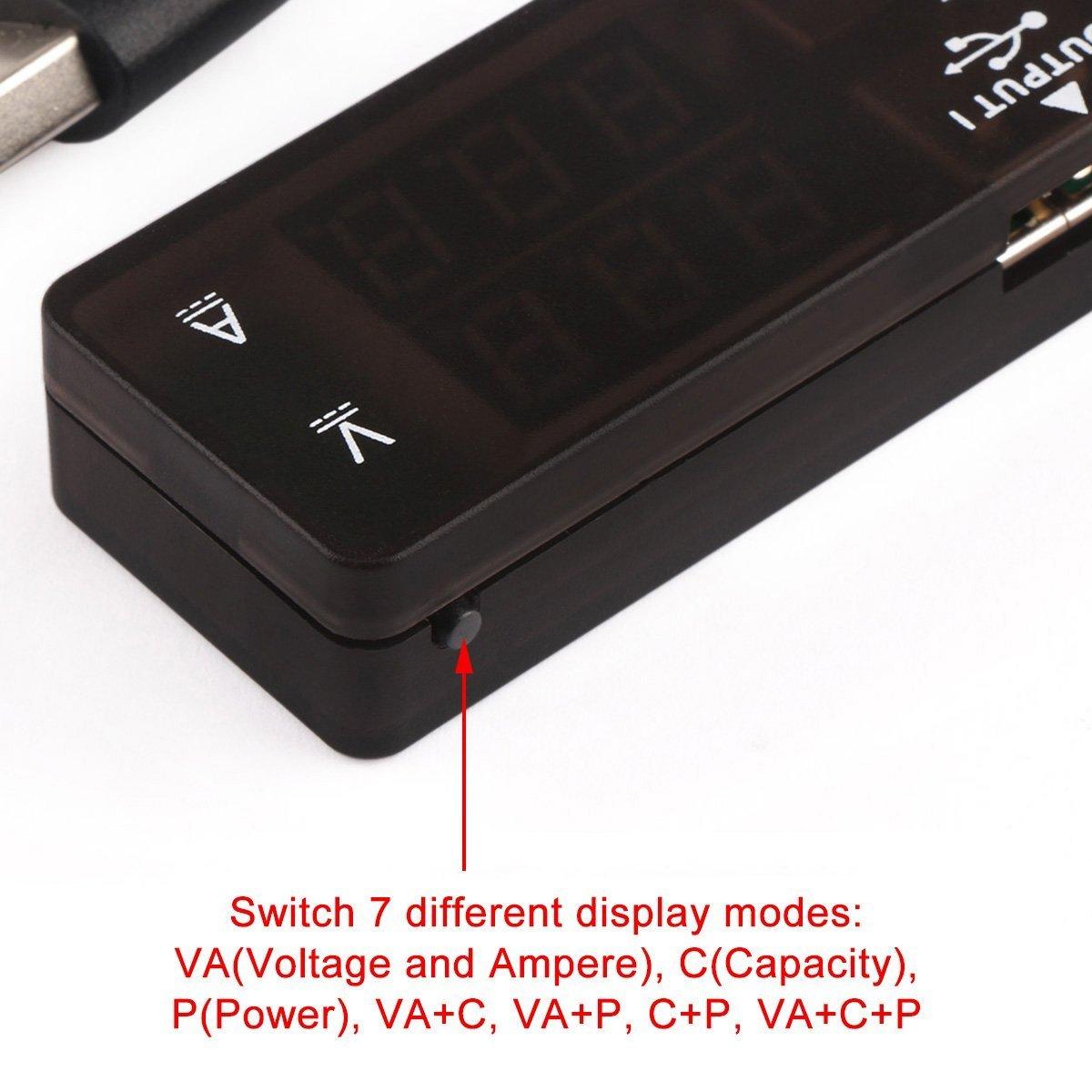 Puertos Duales USB. USB 2.0 Monitor Digital de Corriente y Voltaje de Mult/ímetro // Probador del Medidor de Potencia Amper/ímetro Volt/ímetro Capacitancia y Vat/ímetro 7 Modos Multi Probador