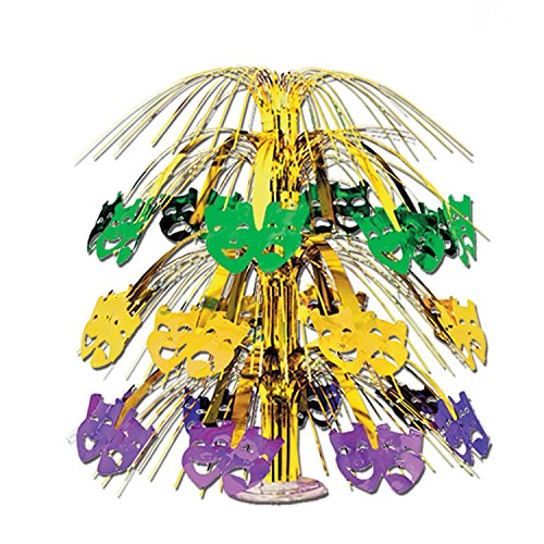 (Club Pack of 6 Purple, Green and Gold Mardi Gras Mask Cut-Out Cascade Table Centerpiece Decorations 18