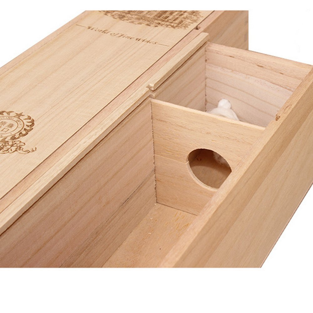 BaiJia Natural Wood Single Bottle Wine Box Carrier Crate Case Best Gift Decor by BaiJia (Image #3)