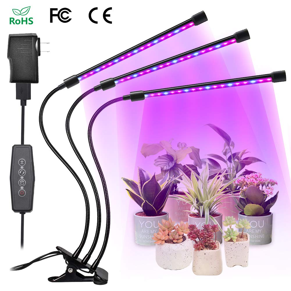 LED Grow Light, Juzihao 54 LED Timing Function 3/6/12H Timer Indoor Growing Light Bulbs 27W 6 Dimmable Modes Grow Lamp 360 Degree Flexible Adjustable Gooseneck Growing Lights for in Door Plants Seedling Growing Flowering Plants Hydroponics Greenhouse Gardening Home Growing Lamps product image