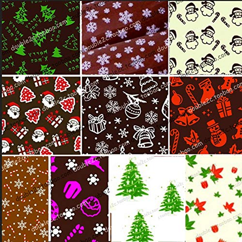 (Dunnomart Chocolate Transfer Sheet of Christmas Pattern,Mixed Chocolate Mold Transfer Sheets Cake Decoration Food Chocolate Transfer)