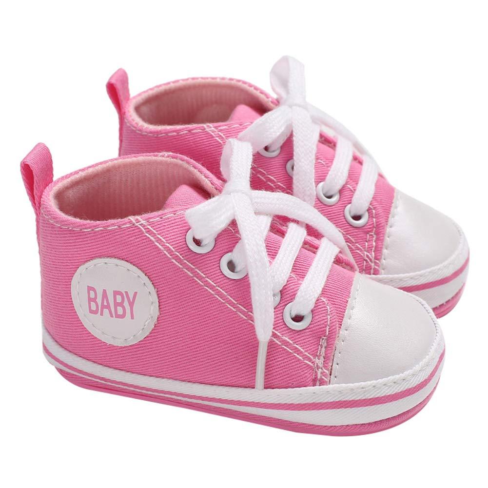 3-5M Alamana Fashion Letter Canvas Baby Infant Soft Anti-Slip Lace-up Prewalker Toddler Shoes Pink 11
