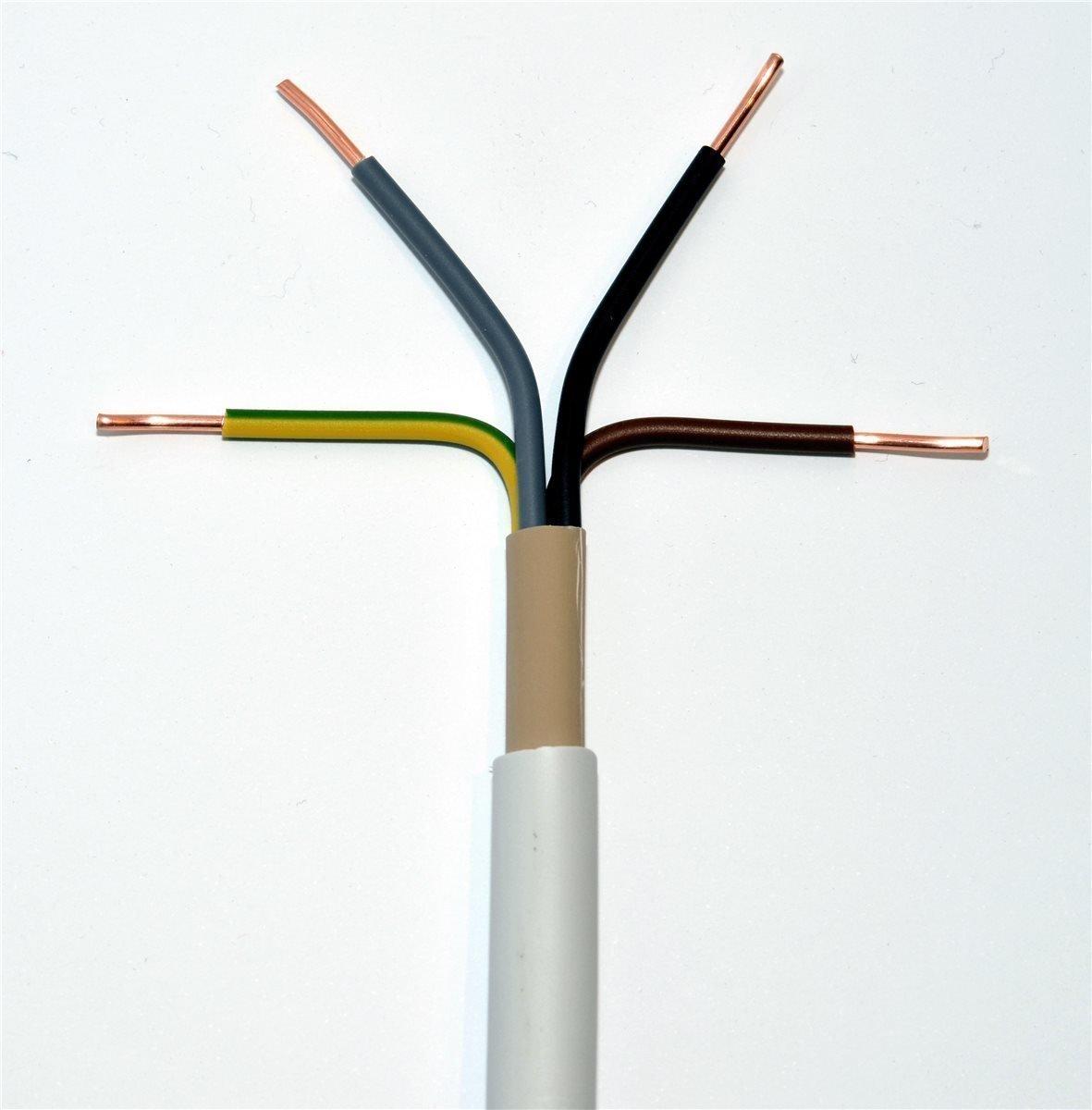 50m NYM-J 3x4 mm/² RE 50m-Ring Mantelleitung grau 3x4 qmm Installationsleitung Feuchtraumleitung