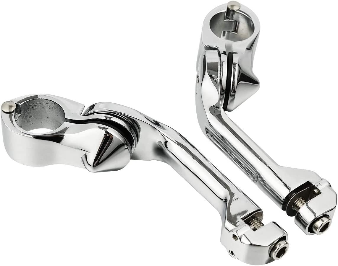 Chrome 32mm 1.25 Long Angled Adjustable Highway Foot Pegs Footpeg For Harley Touring Honda Kawasaki Yamaha