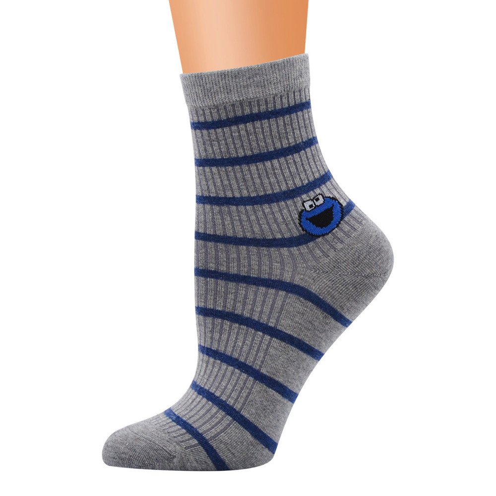 No Show Ankle Socks,MaxFox Women Cute Horizontal Pattern Striped Knit Cotton Thermal Slippers In Tube Socks (Gray)