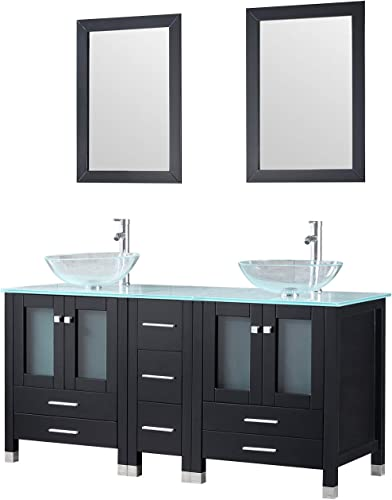Sliverylake 60 Black MDF Double Bathroom Vanity Cabinets and Vessel Sinks w Mirrors Faucet Drain Combo Transparent 2