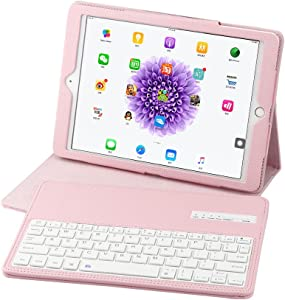 Keyboard Case for iPad Pro 9.7 2017 & 2018 with Detachable Wireless Keyboard, Ultra Slim PU Leather Folio Stand Cover for iPad Air1&Air2 &Pro9.7 & 2017 iPad &2018 iPad, Pink