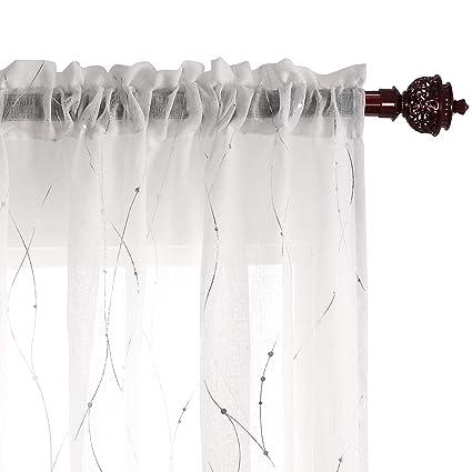 Amazon Deconovo Rod Pocket White Sheer Curtains 84 Dots Printed
