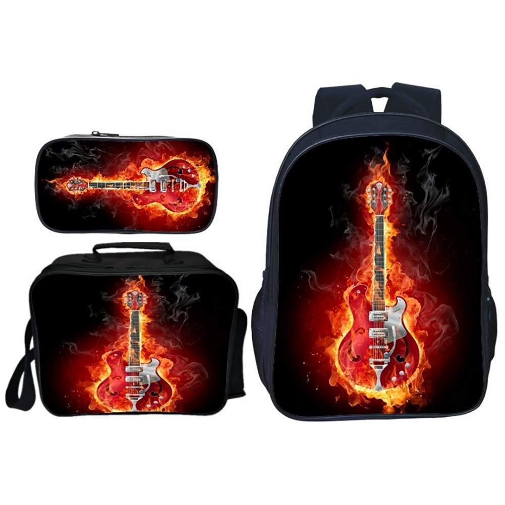 I  TREES Sacs d'école 3D InstruHommest de Musique Guitare étoilé Modèle Sac à Dos 3 pièces voituretables + Sac à Lunch Isotherme + Trousse,e