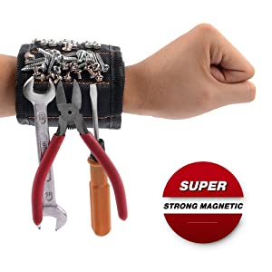 GOOACC GRC-61 1 Pack Wristband with 15 Strong Magnets Screws Nails Drill Bits Holding Best Unique Tool Gift for DIY Handyman Father Dad Husband Boyfriend Men Women,2 Years Warranty