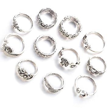 gespout 11pz femenino de anillo de acero inoxidable Estilo Vintage Juego de anillas flor de rosa hoja de árbol accesorios decorativos de moda ...