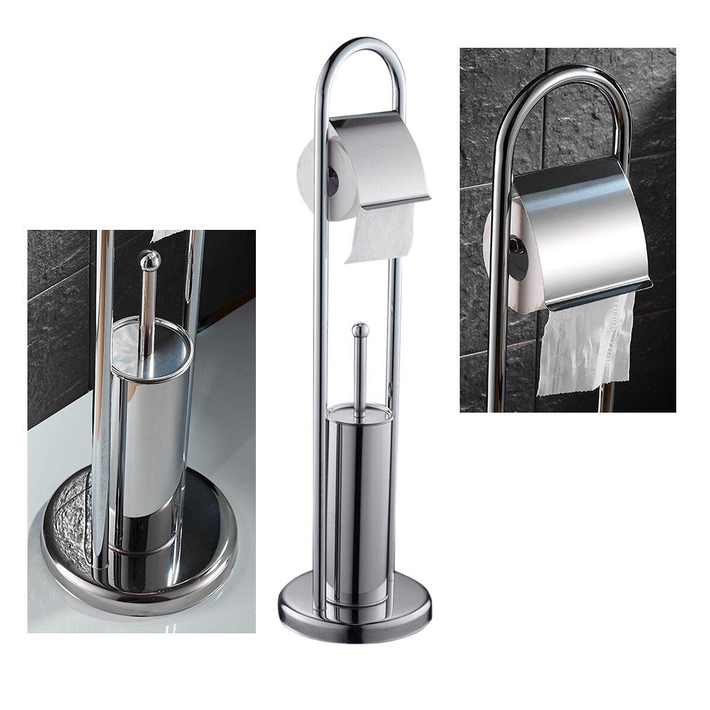 Auralum® Porta Spazzolino WC, Set da Bagno Cromo Scopino Acciaio ...