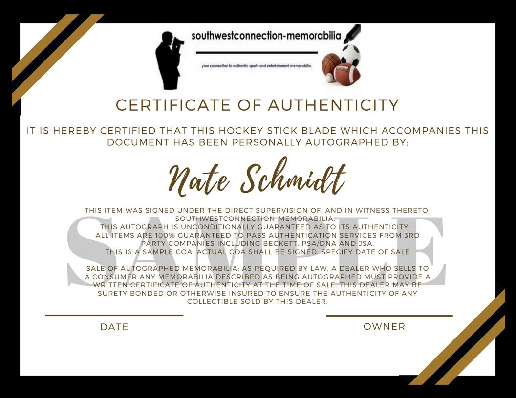 Las Vegas Golden Knights Nate Schmidt Autographed Hand Signed Hockey Stick Blade with Go Knights Inscription and Proof Photo of Signing and COA