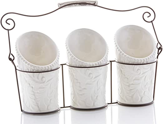 Kitchen Utensil Holders (4 Pieces) - 3 Ceramic Utensil Crocks (4\
