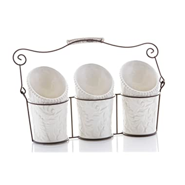 Kitchen Utensil Holders (4 Pieces) - 3 Ceramic Utensil Crocks (4  Dia x 7  H each) & 1 Metal Caddy - White & Embossed Design