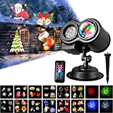 Mcgrady1xm Upgrade Water Wave LED Projector Lights, 2 in 1 Colorful Flowing Water Ripple Effects, Waterproof Outdoor and Indoor Party Decoration Lights with Remote Controller, 12 Slides 4 Colors Landscape Lights for Halloween Xmas Parties Bedroom Lawn Patio Yard Garden