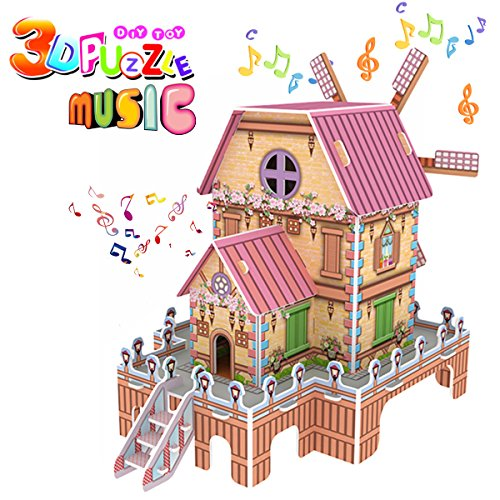 Magic Windmill 3D Puzzle for kids, Jigsaw Dollhouse Model DIY Educational Toy ,Best Creative Music Box Learning Gifts for Girls Boys Birthday Halloween Christmas Gifts-23 (100 Floors Level 100 Halloween)