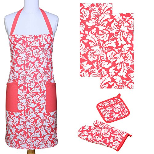 Yourtablecloth Kitchen Gift Set-1 Kitchen Apron, An Oven Mitt & A Pot Holder-2 Kitchen Dish Towels or Tea Towels-Ideal Cooking Gifts or Gift Ideas for Chefs-Suitable for Men & Women-Pink